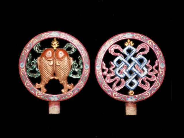 Two famille rose Buddhist Emblems Qianlong/ Jiaqing