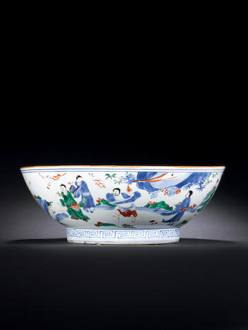 An extremely rare and large wucai 'Eight Immortals' bowl Six-character Kangxi mark and of the period