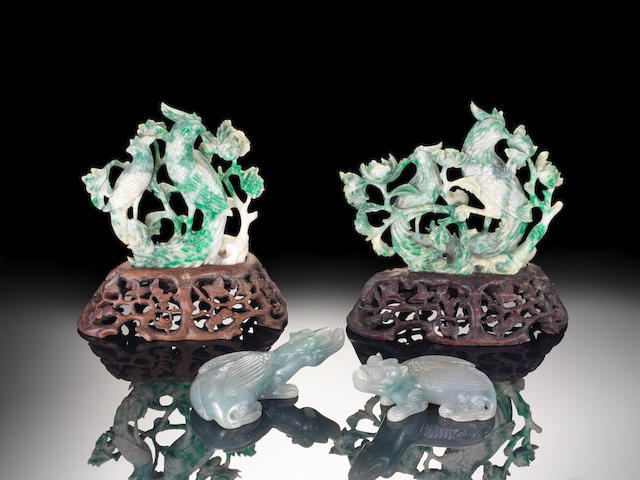A pair of jadeite mythical beasts Qing Dynasty