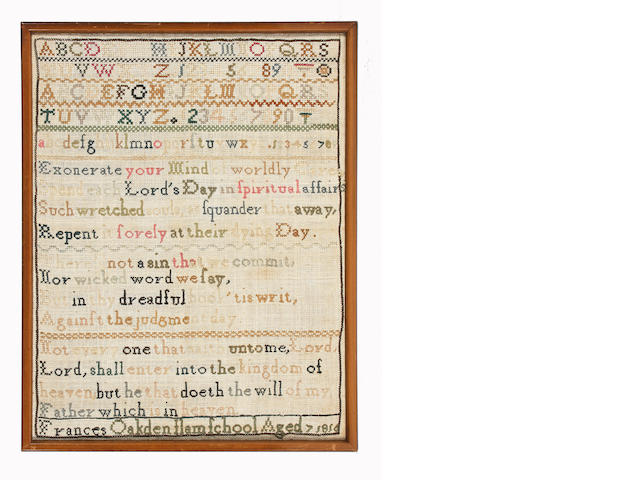 Eight 19th century samplers worked by members of the same family