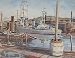 Alan Ian Ronald, RSW (British, 1899-1967) Flagship C in C, Portsmouth