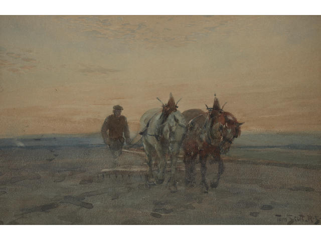 Tom Scott, RSA (British, 1859-1927) Ploughing, evening