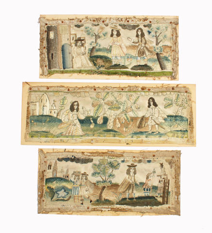 Three late 17th century needlework casket panels
