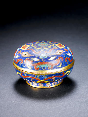 An unusual archaistic gilt and cloisonné enamel cosmetic box and cover Incised four-character Qianlong mark and additional character and of the period
