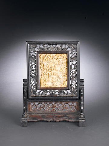A framed ivory panel 19th century