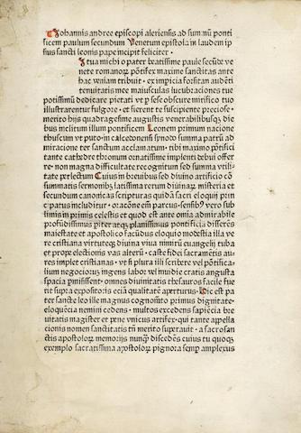 LEO I, Pope [Sermones] Incipit: Iohannis andree episcopi aleriensis ad summu[m] pontificem paulum secundum Venetum