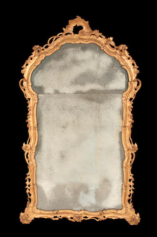 An Italian 19th century carved giltwood mirror in the mid 18th century style