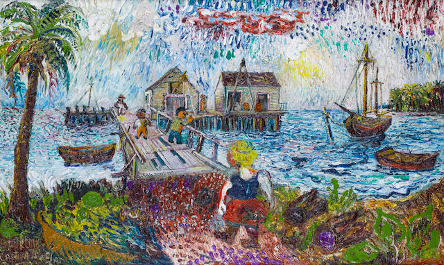 David Burliuk (Russian/American, 1882-1967), Captiva Island, 1946, Oil on Canvas
