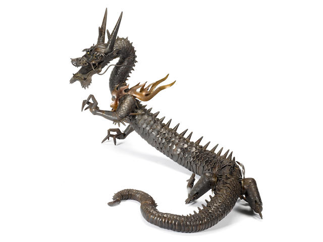 A fine, rare and large iron jizai (fully articulated) okimono of a dragon Myochin School, Edo Period, 18th/19th century