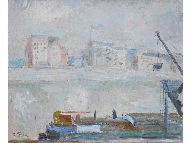 Robert Rafailovich Falk (Russian, 1886-1958) Riverside scene with crane and barge