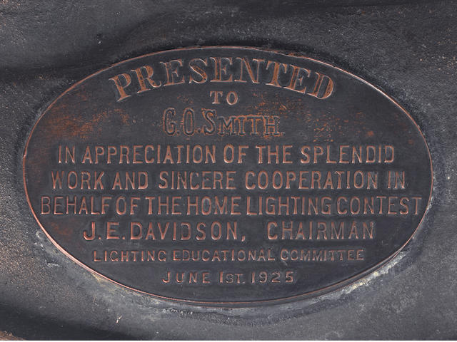 A rare presentation T. A. Edison Home Lighting Contest wall plaque, Awarded on 1 June 1925,