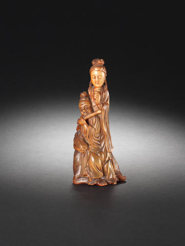 A buffalo horn carving of Guanyin 18th/19th century