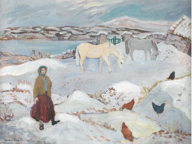 Gerard Dillon (Irish, 1916-1971) Snow in Connemara 30.5 x 40.5 cm. (12 x 16 in.)