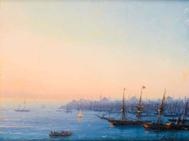 Ivan Konstantinovich Aivazovsky (Russian, 1817-1900) Sunset over the Golden Horn (Constantinople) from Pera