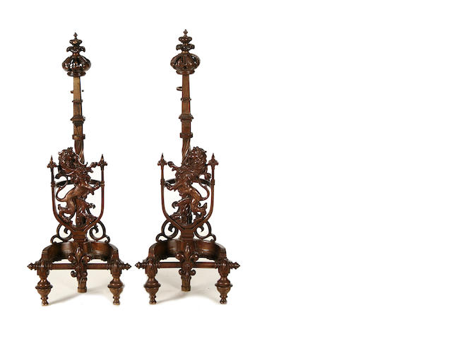 A pair of 19th century cast iron andirons