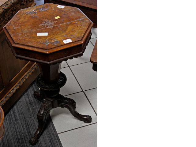 A Victorian  inlaid walnut octagonal sewing table