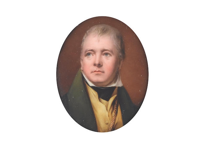 William Bishop Ford (British, 1832-1922) Sir Walter Scott (1771-1832), wearing green coat, yellow waistcoat, white chemise, black stock and gold chain
