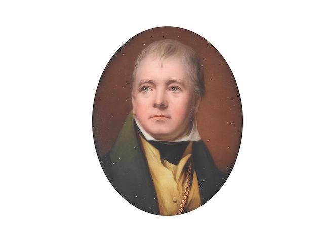 William Bishop Ford (British, 1832-1922) Sir Walter Scott (1771-1832), wearing green coat, yellow waistcoat, white chemise, black stock and gold chain
