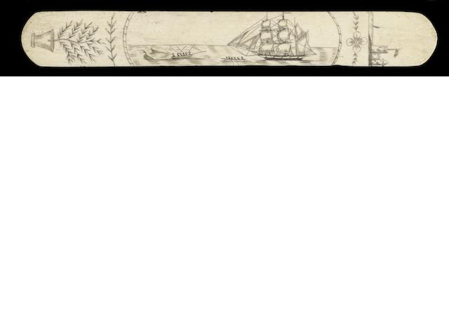 A whalebone busk scrimshawed with whaling scene,  mid 19th century,  13.5in (34cm) long.