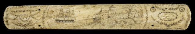 A scrimshawed whalebone stay busk, 19th century. 15in (38cm) long.