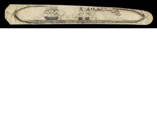 A scrimshawed whalebone busk,  early 19th century,  14.25in (36cm) long.