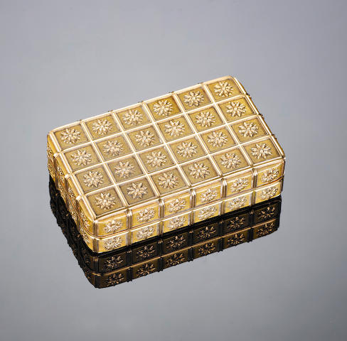 A fine George III gold snuff box, maker's mark incuse I A, probably for Jacob Amedroz, London 1802,