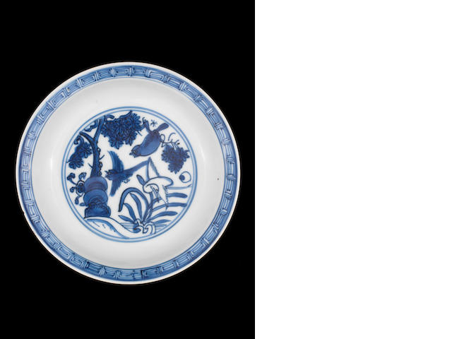 A blue and white saucer-dish Longqing four-character mark, late Ming Dynasty