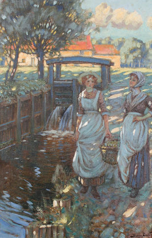 Sydney Carter (South African, 1874-1945) Two young women by a stream