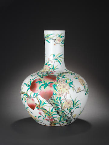 A large famille rose 'nine-peach' vase, tianqiuping Qianlong seal mark