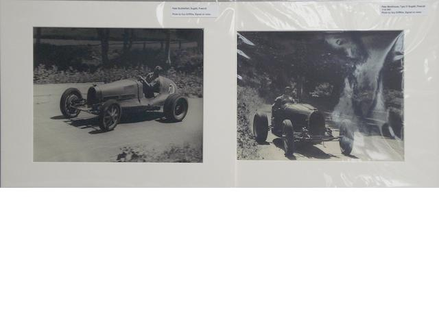 Two photographs by Guy Griffiths depicting racing Bugattis at Prescott,