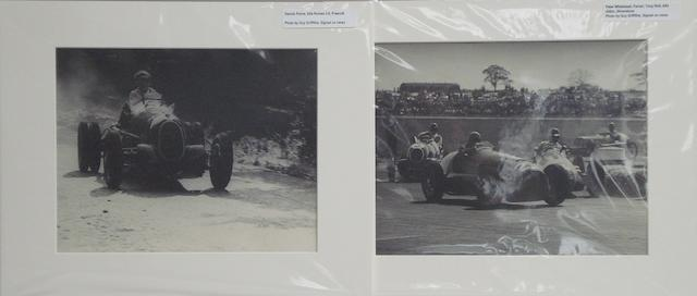 Two photographs by Guy Griffiths depicting Ferrari and Alfa Romeo 3.8 at Silverstone and Prescott,