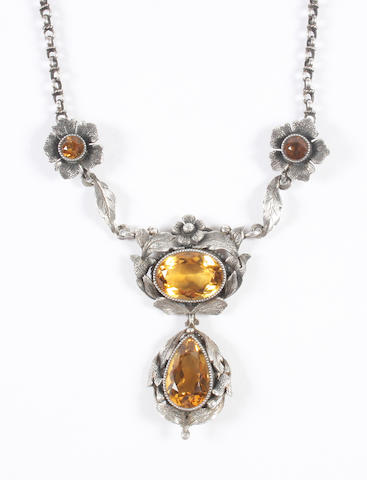 An Arts and Crafts citrine necklace Unmarked,