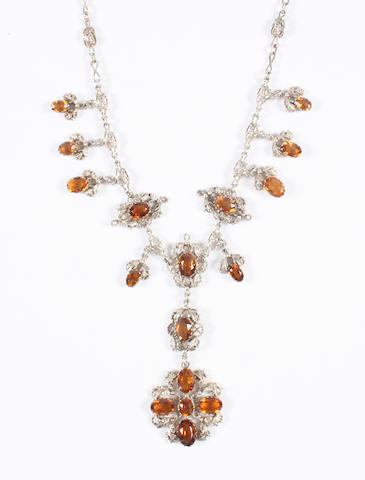 An Arts and Crafts citrine necklace by Kate Eadie Unmarked,