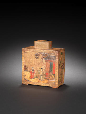A rare painted soapstone and pewter rectangular tea caddy and cover 18th century