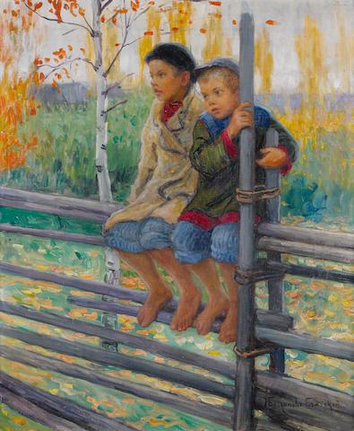 Nikolai Petrovich Bogdanov-Bel'sky (Russian, 1868-1945) Best friends