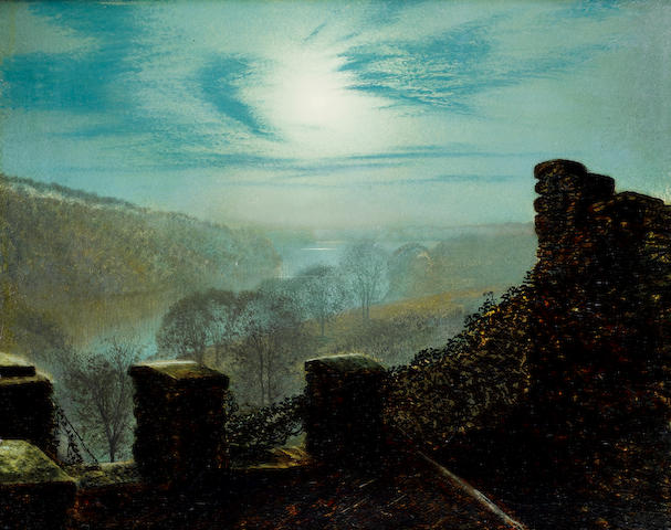 John Atkinson Grimshaw (British, 1836-1893) Full moon, Roundhay Park Castle