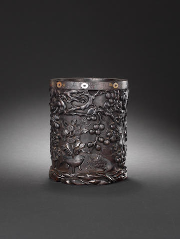 A zitan carved cylindrical brushpot, bitong 18th/19th century