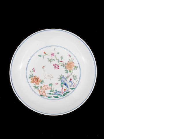 A fine famille rose saucer dish Yongzheng six-character mark and of the period