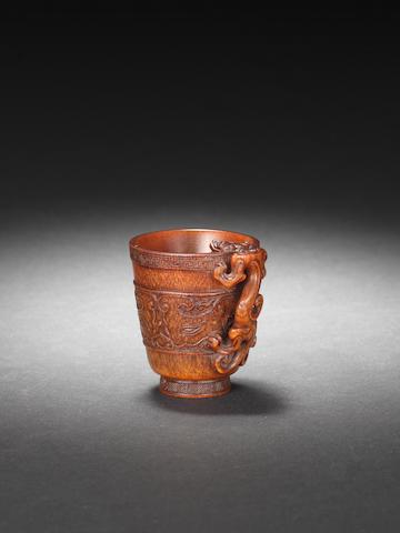 A rare archaistic rhinoceros horn cup 17th/18th century