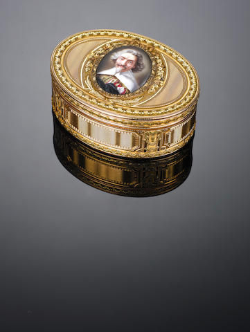 A Louis XV vari-colour gold snuff box, by Jacques Nicolas Trumeau, with the charge and discharge marks of Julian Alaterre, Paris 1772,