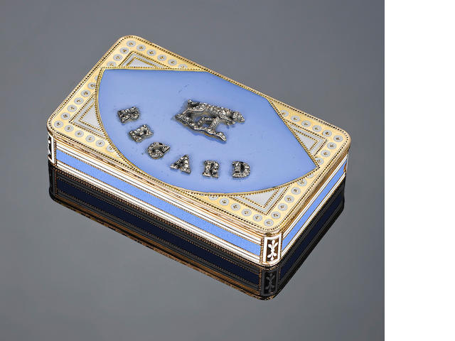 A 19th century Swiss gold and enamel box, gem set 'Regard' and with figure of dog to the cover, possibly Geneva