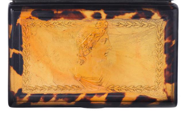 A tortoiseshell musical snuffbox, circa 1835,