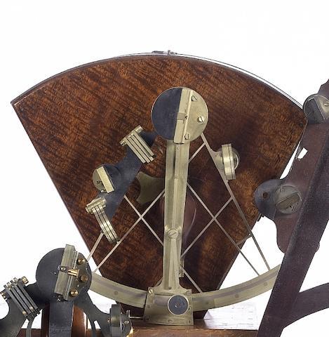 A fine 7in (18cm) radius brass sextant,  English, mid 19th century,