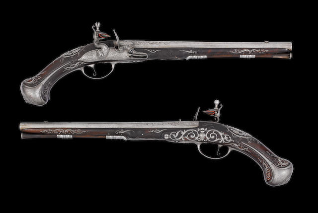 A Very Fine Pair Of 28-Bore French Royal Flintlock Holster Pistols With the Arms Of The Grand Dauphin (d. 17110