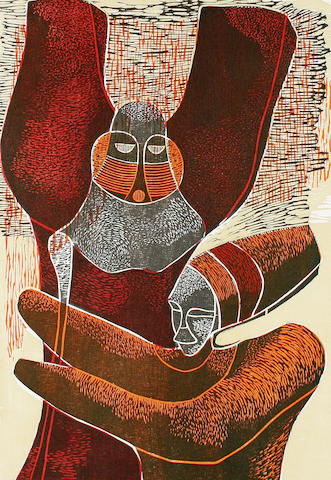 Lucky Madlo Sibiya (South African, 1942-1999) A set of 10 woodcuts from Lucky's 1977 Umabatha series each 66 x 48.2cm (26 x 19in) (sheet). (10)