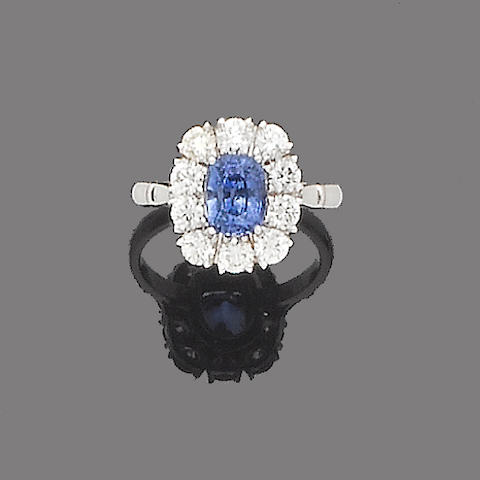 A sapphire and diamond cluster ring