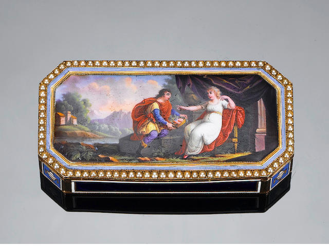 A Swiss early 19th century gold and enamel, oblong patch box with enamel after Poussin,