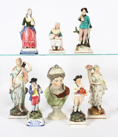Two pearlware figures, a pearlware bust, and five various figures 19th Century.