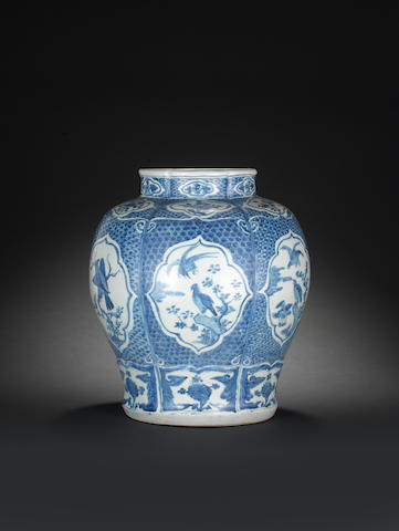 A large blue and white storage jar, guan Wanli