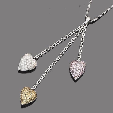 A gem-set and diamond pendant necklace, by Chatila